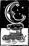 Woodcut style moon and riverboat