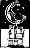 Woodcut style moon and castle