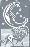 Woodcut style moon and Persian Sphinx