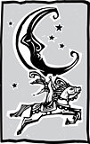 Woodcut style moon and Circus
