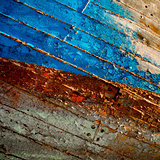 Side of an old wooden boat