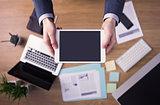 Businessman at office using a digital tablet