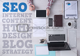 Business and marketing concepts on office desktop
