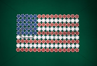 American flag composed of chips