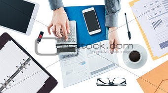Business woman checking a financial report