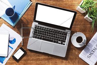 Corporate identity mock up on a desktop