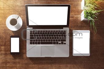 Corporate identity mock up on hardwood desk