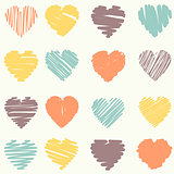 Vector set of scribble valentine hearts