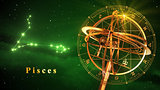 Armillary Sphere And Constellation Pisces Over Green Background