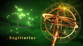 Armillary Sphere And Constellation Sagittarius Over Green Background