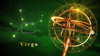 Armillary Sphere And Constellation Virgo Over Green Background