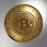Concept Of Gold Bitcoin Like A Security Lock