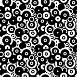 Black and white circles, abstract seamless pattern