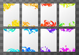 Eight a4 blank sheets with abstract paint splashes on transparent background