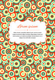 Card background with many circles and text template, a4 size vertical illustration