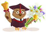 Owl teacher holding bouquet of flowers. School bell