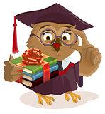Owl professor holding books