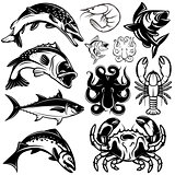 set of monochrome freshwater and marine fish and shellfish
