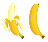 Yellow banana on a white background
