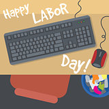 Happy Labor Day, with a table, keyboard, mouse and bin. View from top