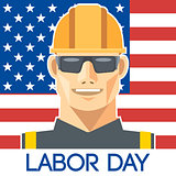 Labor Day design, with a worker with safety helmet and glasses over the flag of united states of america