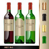 Vector wine bottles mockup, your label here
