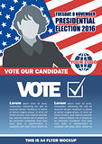 Usa 2016 election a4 flyer mockup with country map, vote checkbox and female candidate