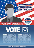 Usa 2016 election a4 flyer mockup with country map, vote checkbox and male candidate