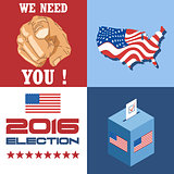Usa 2016 election card with country map, vote box, and we need you slogan with hand