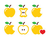 Yellow apple, apple core, bitten, half vector icons