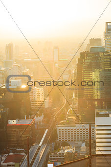 Aerial view of bangkok skylines