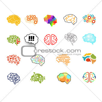 Brain Icon Set, Vector Illustration Set