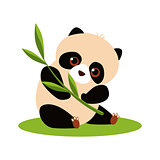 Cute Panda Eating Bamboo. Vector illustration.
