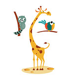 Giraffe, Lemour and Bird. Vector Illustration in Flat Style