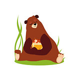 Cartoon Bear Hugging Honey. Vector Illustration in Flat Style