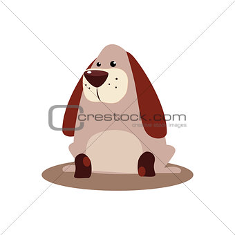 Sitting Brown Dog Vector Illustration
