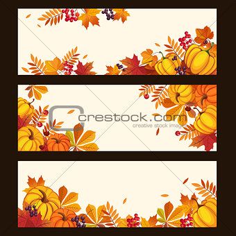 Autumn Banners with Colorful Leaves and Pumkins, Vector Illustration