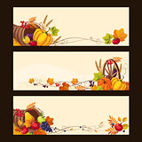 Autumn Banners with Ripe Vegetables, Fruit and Leaves, Vector Illustration