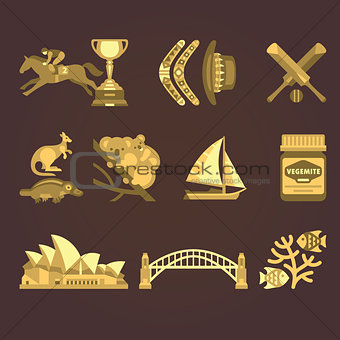 Australia Traditional Elements Set. Vector Illustration