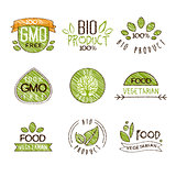 Natural Organic Labels, Vector Illustration Set in Handdrawn Style