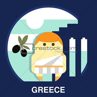 Greek Resident in Vector Illustration