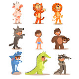 Little Boys Wearing Animal Costumes. Vector Set