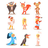 Little Girls Wearing Animal Costumes. Vector Set