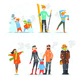 People in Winter and Activities. Vector Illustration.