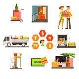 Moving and Repair Web Icon Set. Vector Illustration in Flat Style
