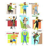 Men Lifestyle in Flat Style Vector Illustration Set