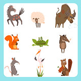 Domestic and Wild Animals Vector Illustration Set in Flat Style