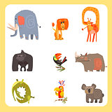 Safari Animals and Birds Vector Illustration Set, Flat Design