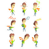 Men Emotions. Vector Illustartion Set in Flat Style