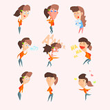 Women Emotions. Vector Illustartion Set in Flat Style
